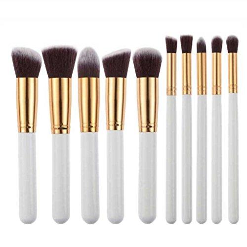 Fortan 10Pcs Make-up kosmetische Werkzeug Lidschatten-Puder Foundation-Pinsel-Set
