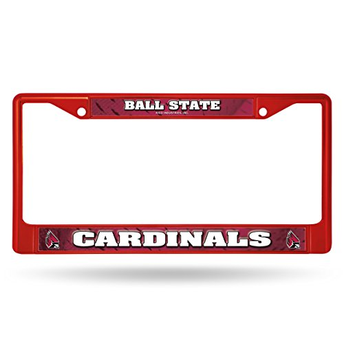 Rico Industries NCAA Ball State Cardinals Team Colored Chrome License Plate Frame, Red