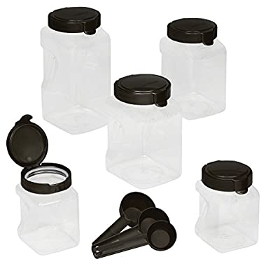 Snapware Airtight 10 piece Plastic Canister set includes, 2-ea 11.1 cupsquare, 4.4 cup square, 1-ea 15.9 cup square with scoops