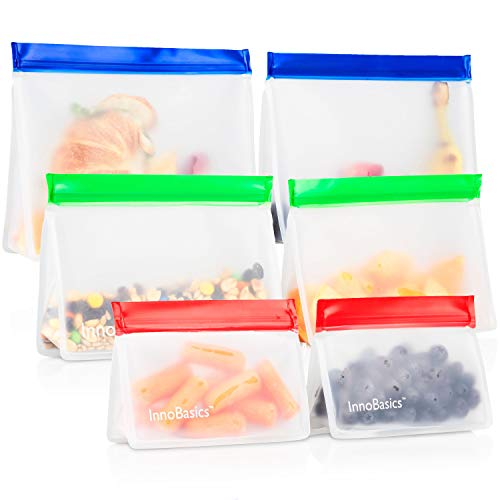 Eco Friendly Reusable Snack Bags: InnoBasics Food Storage Bags for Snacks, Lunch - Washable Leakproof Zip and Lock Sandwich Bag Pack for Kids - 2 Large, 2 Medium, 2 Small Zipper Baggies (Eco Friendly Reusable Bags)
