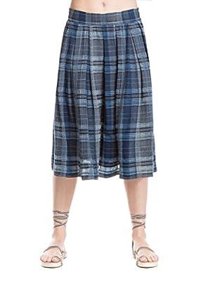 Max Studio London Womens Suzanne Cotton Plaid Midi Skirt