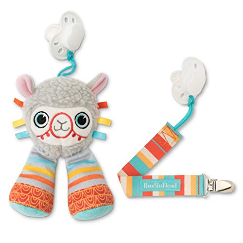 orn, PaciPal and PaciGrip Pacifier Clip, Holder, Toy, Teether, Soothie, Universal Loop, Plush, Lovey, boy, Girl, Llama, Gray, Green, Orange, Teal, 2 Piece Set ()
