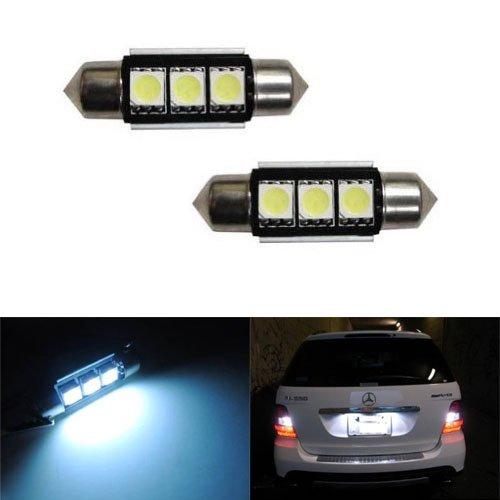 Slk Light (iJDMTOY 3-SMD Error Free 6418 C5W LED Bulbs For European Cars License Plate Lights, Xenon White)