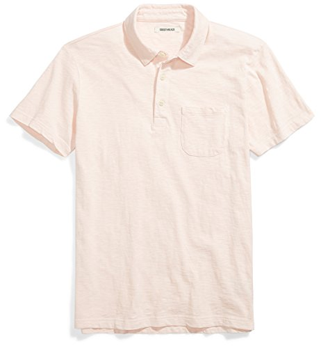 Goodthreads Men's Lightweight Slub Pocket Polo Shirt, Rose/Pink, Large