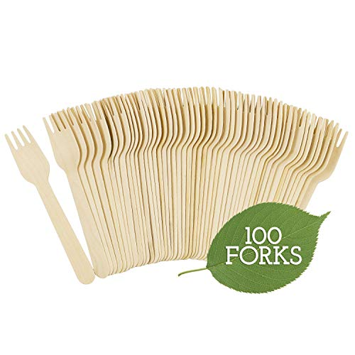 Disposable Bamboo Forks - Galashield Disposable Wooden Forks - 100 Piece - 6.3