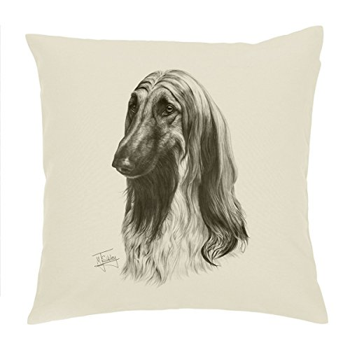 Mike Sibley Afghan Hound Cushion Cover - Identity Curl Cream