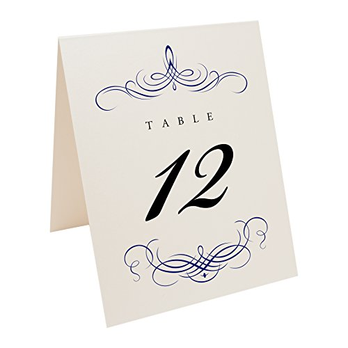 Documents and Designs Decadent Flourish Table Numbers (Select Color/Quantity), Champagne, Navy, 1-30