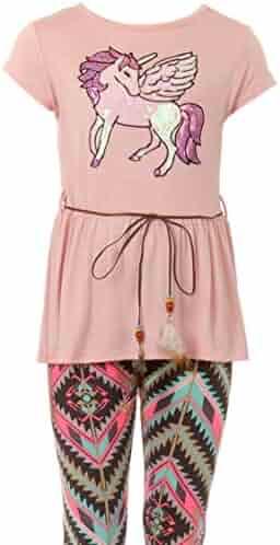 2c9fb8656485 Little Girl Unicorn T-Shirt Pant Legging Tight Girls 2 Pieces Clothing Set  4-