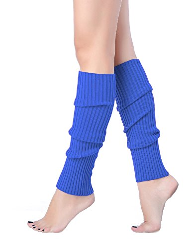 V28 Women Juniors 80s Eighty's Ribbed Leg Warmers for Party Sports (Blue)