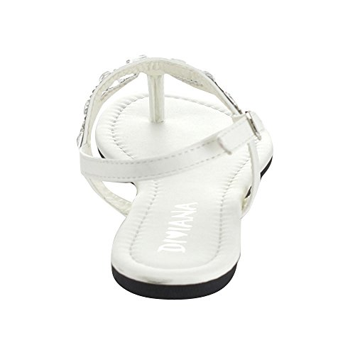 Diviana Moira-09a Femmes Bout Rond Bride Arrière Tongs Sandales Blanches