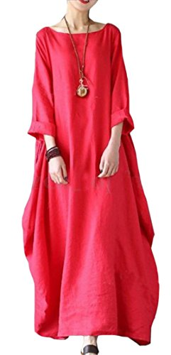 Jaycargogo Loose Sexy Fit Color Dress Red Sleeve Womens Solid Long Linen Cotton TTwrq8F