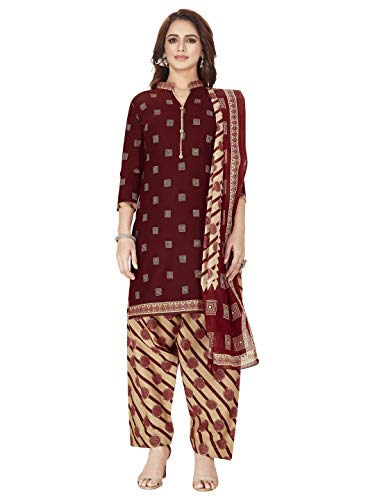 Jevi Prints Women's Unstitched Faux Crepe Wrinkle Free Dress Material (Varsha-3272_Red_Free Size)
