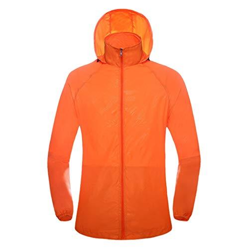 Men's Windproof UV Protection Cycling Jacket Long Sleeve Wind Coat Unisex Outdoor Bicycle Sports Quick Dry Windbreaker Orange