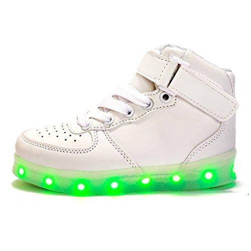 DoGeek Zapatos Led Niños Niñas 7 Color USB Carga Deportivas De Luces Zapatillas( mejor pedir una talla más) Blanco