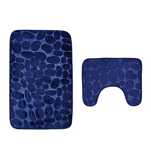 Bathroom Rug Set 2 Pieces Soft Non-Slip Absorbent Foot Pad Bathroom Rug + U-Shaped Toilet Mat Carpet (Dark Blue)