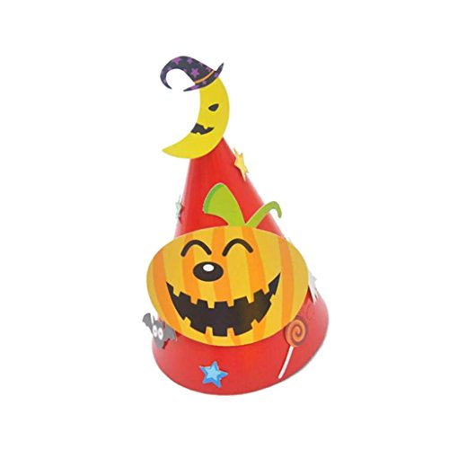 Rambly Halloween Paper Cartoon Cap Child Child Halloween Ornament Hat (Red)