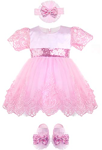 - Lilax Baby Girl Newborn Lace Princess Wedding Party Dress Gown 4 Piece Deluxe Set 0-3 Months Pink