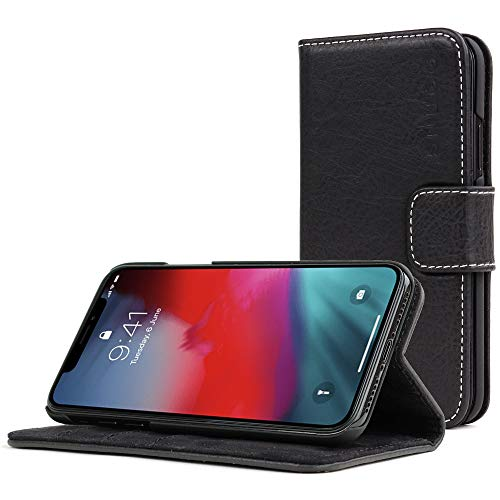 Snugg iPhone Xs (2018) / iPhone X (2017) Wallet Case - Leather Card Case Wallet with Handy Stand Feature - Legacy Series Flip Phone Case Cover in Blackest Black