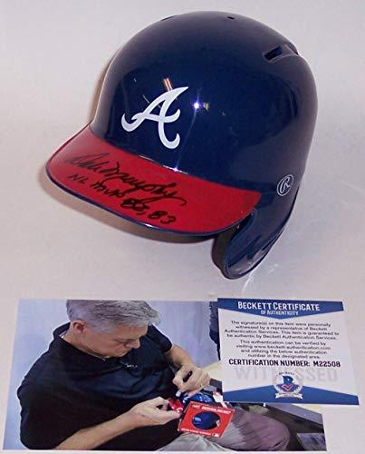 Dale Murphy Autographed Hand Signed Rawlings Atlanta Braves Mini Batting Baseball Helmet - with NL MVP 82,83 inscription - BAS Beckett Authentication