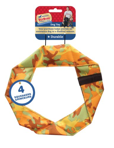 Ethical Pet America's Vet Dog Camouflage Twisty Ring Dog Toy with Squeakers, 9-Inch