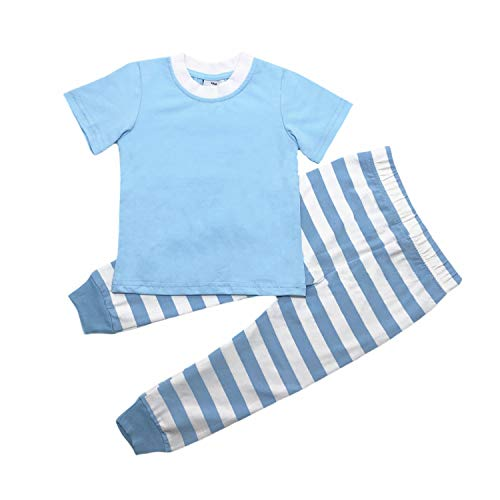 MONOBLANKS Easter Stripe Dot Pajamas Sets for Baby and Boys Girls,Kids Sleepwear Toddler Clothes 100% Cotton Short Sleeve Two-Piece Sets (6T, Blue) ()