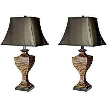 Charming Safavieh Lighting Collection Sahara Safari Brown And Black Zebra 32.5 Inch Table  Lamp (Set