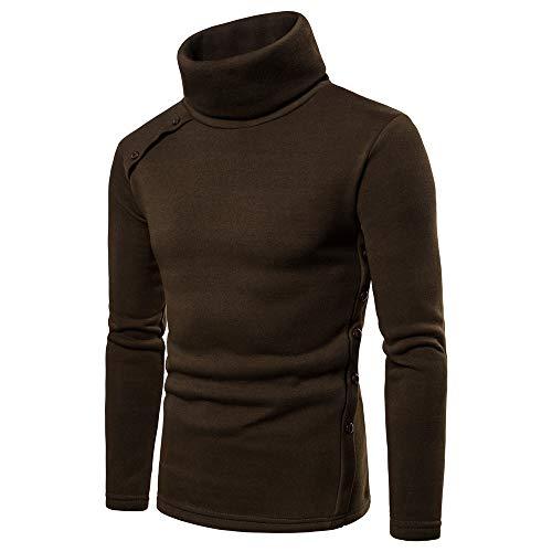 Pullover Lunga Button Uomo Marrone Invernale Tinta Autunnale Longra A Manica Felpa Maglione Casual Unita Maglieria Collo shirt Con Maglioni Caldo T Da Alto 77rTz