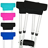 Vive Crutch Pads - Padding for Walking Arm Crutches - Universal Underarm Padded Forearm Handle Pillow Covers for Hand Grips - Soft Foam Armpit Bariatric Accessories for Adults, Kids (1 Black Pair)