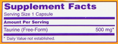 NOW Foods Taurine 500mg, 100 Capsules (Pack of 3)