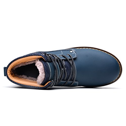 Sommets En Chaussures Bleu faux Jitong Randonnée Hauts Cheville Bottes Fourrure Doublure De Chaussures Occasionnels Travaillent À La Lacées Mens CTPFwqpx