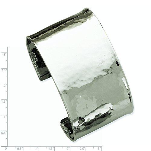 Or blanc 14 carats martelé JewelryWeb 37 mm-poli Bracelet Bracelet