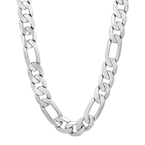 Men's 10mm Silver Plated Figaro Chain Necklace, 36