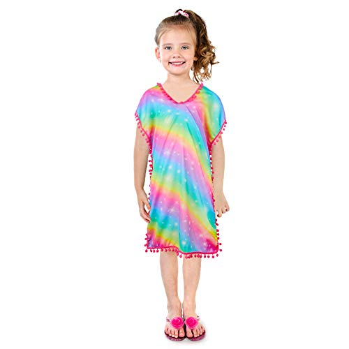 (QtGirl Cover Up for Girls Swimsuit Cover Ups, Bathing Suit Beach Dress Cover-Up V-Neck with Tassel for Kids Girls Summer)