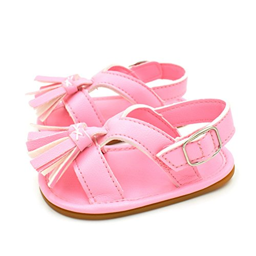 Sandalias De Bebe,BOBORA Prewalker Zapatos Primeros Pasos Para Bebe Classic Simple Flecos Sandalias De Goma De Bebe rosa