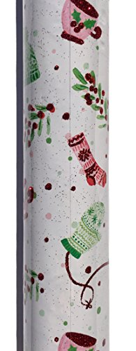 Lady Jayne Continuous Heavyweight Red Glitter Embellished Gift Wrap Paper Sheets in a Roll, Christmas Girly Pink Fuzzies (Girly Lady Mug)