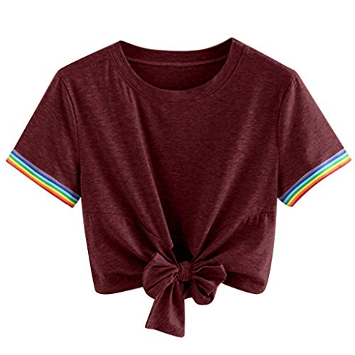 Sunyastor Women's Summer Crop Top Solid Loose Short Sleeve Round Neck Tie Front T-Shirt Tops Blouse S-XXL Red