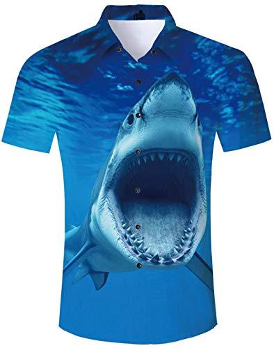 Blue Shark Shirt Tropical Beach Theme Hawaiian Island Shirt Animal Print Turquoise Seawater Scary Open Mouth Shark Teeth Short Sleeve Shirt Novelty Unique Vegas Custom Button Down Shirt -