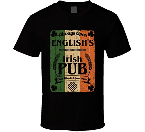 English Irish Pub Sign Custom St Patricks Day Last Name Ireland Pride T Shirt L Black