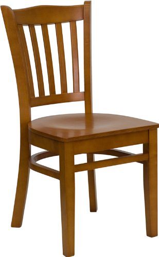 Flash Furniture HERCULES Series Vertical Slat Back Cherry Wood Restaurant Chair