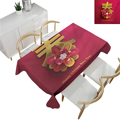 familytaste Chinese New Year,Tablecovers Rectangular,Lunar Festival Theme with a Flower Motif and Chinese Letter on Pink,Table Cloth Cover Wedding Event Party 60