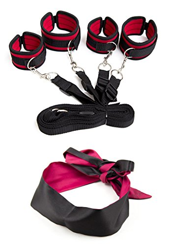 Medical Grade Red Bed Restraint System With Ankle Cuffs Fabric Bag (Red) Adjustable Under Bed Restraints + Satin Blindfold