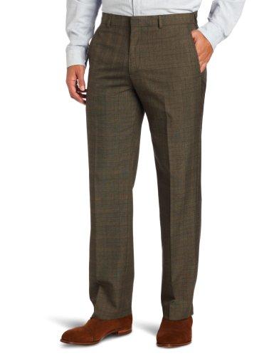 Haggar Men's Glen Plaid Plain-Front Flexible-Waistband Suit-Separate Pant
