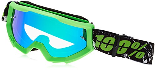 100% unisex-adult Goggle (Green,Mirror Green,One Size) (STRATA MX STRATA LIME Mirror Lens - Mirror Green Lime