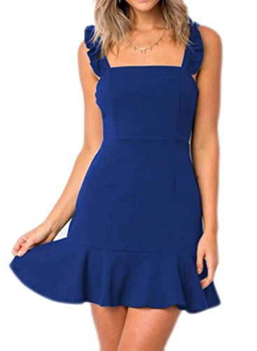 Domple Mini Ruffles Strap Women Blue Bodycon Sleeveless Dress Sexy Solid r4qrHwv