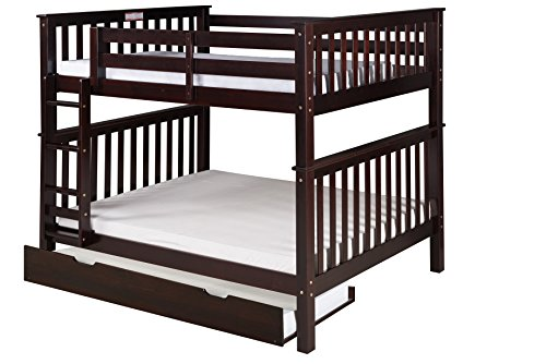 (Camaflexi Santa Fe Mission Tall Bunk Bed Attached Ladder with Under Bed Trundle, Full Over Full, Cappuccino)