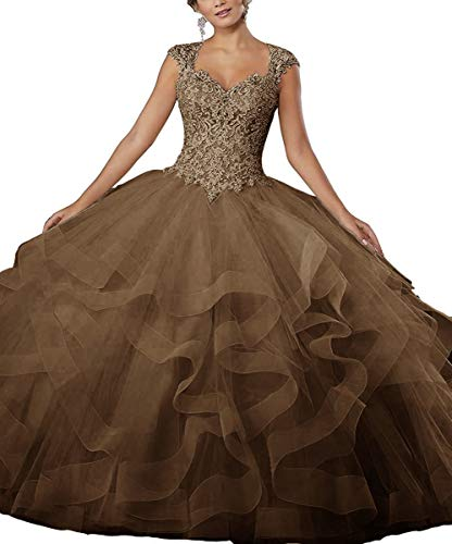 ZLQQ Women's Sweet 16 Lace Applique Beading Sleeveless Ball Gown Quinceanera Dresses Coffee