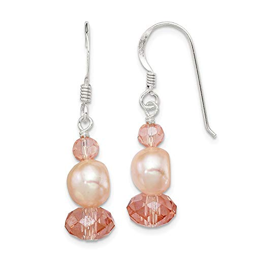 Sterling Silver Peach Crystal/FW Cultured Pearl Earrings Crystal Fw Cultured Pearl