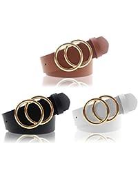 Women's PU Leather Belt Double O Ring Soft Faux Leather Waist Belt