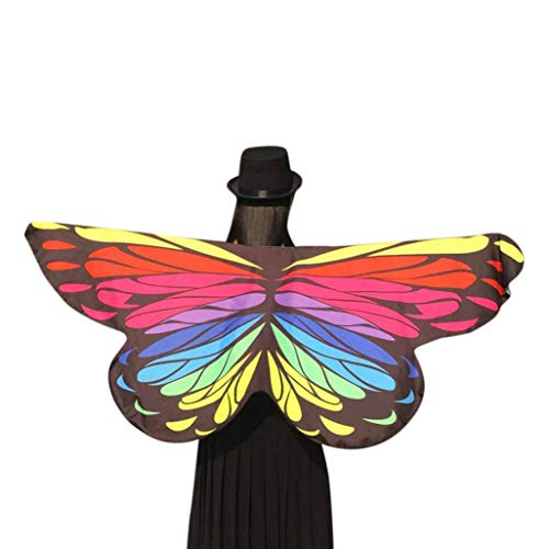FEITONG Halloween Party Women Soft Fabric Butterfly Wings Shawl Fairy Ladies Nymph Pixie Costume Accessory,145x65CM(145x65cm,Multicolor-2) -
