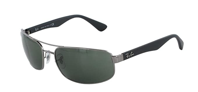 4fc15d7144 Amazon.com  Ray Ban RB3445 004 61 Gunmetal Crystal Green Sunglasses ...